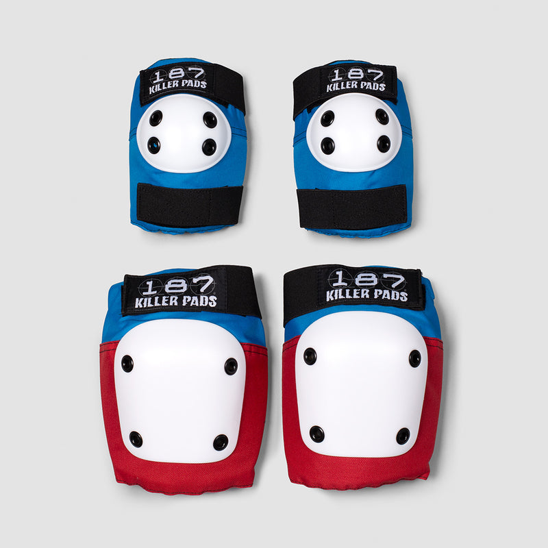 187 Killer Combo Pack Knee & Elbow Pads Red/White/Blue