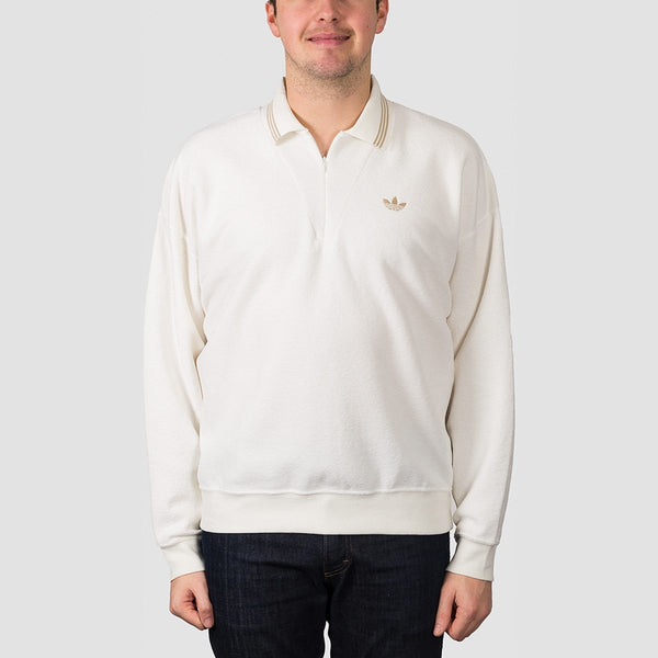 adidas Bouclette Longsleeve Polo Shirt Off White/Savannah - Clothing