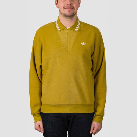 adidas Bouclette Longsleeve Polo Shirt Spice Yellow/Off White