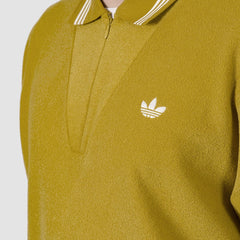 adidas Bouclette Longsleeve Polo Shirt Spice Yellow/Off White - Clothing