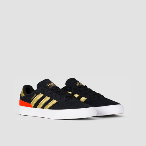 adidas Busenitz Vulc II Core Black/Gold Metallic/Solar Red - Footwear
