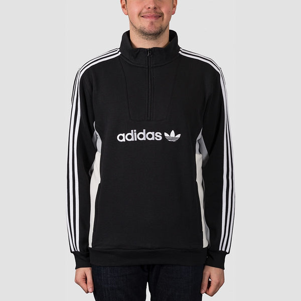 adidas Mod 1/4 Zip Sweatshirt Black/Clear Onix/White/Off White - Clothing