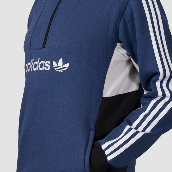 adidas Mod 1/4 Zip Sweatshirt Tech Indigo/Grey One F17/White/Black - Clothing