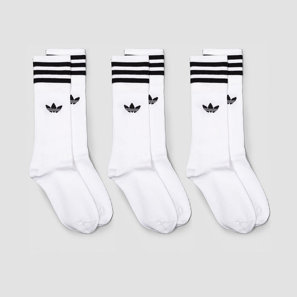 adidas Solid Crew Socks 3 Pack White/Black - Unisex L