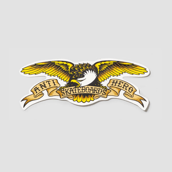 Antihero Eagle Sticker Black/Yellow 125mm x45mm - Skateboard