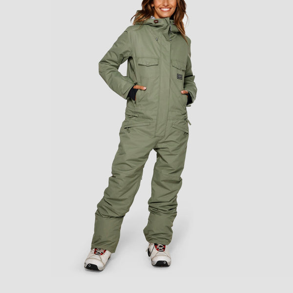 Billabong Break Of Dawn Snow Jumpsuit Jacket Olive - Womens