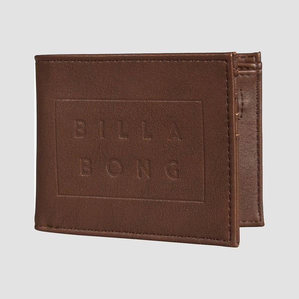 Billabong Die Cut Leather Wallet Chocolate