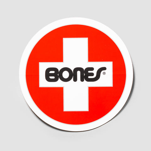 Bones Swiss Round Large Sticker Red/White 155mm