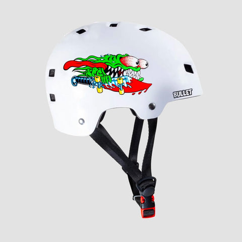 Bullet x Santa Cruz Slasher Skate/Bmx Helmet Gloss White - Kids