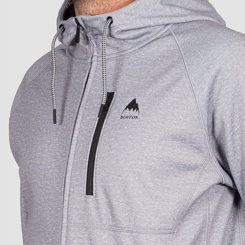 Burton Crown Bonded Zip Hood Grey Heather - Snowboard