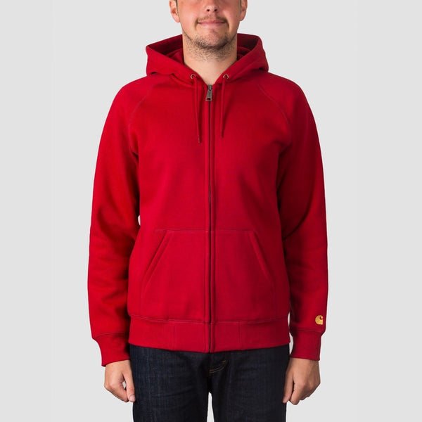 Carhartt WIP Chase Jacket Zip Hood Blast Red/Gold - Clothing