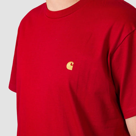 Carhartt WIP Chase Tee Blast Red/Gold - Clothing