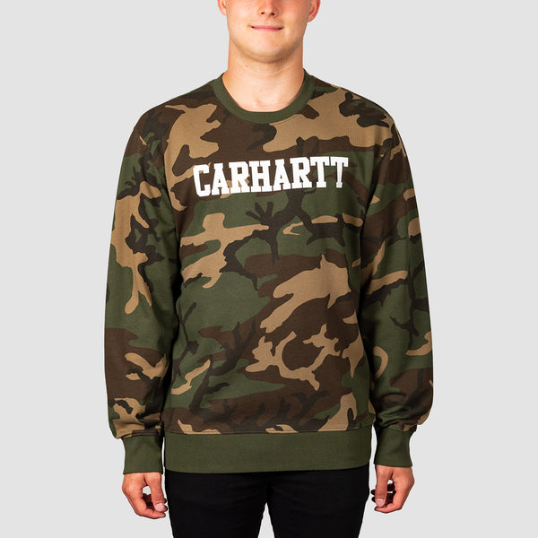 Carhartt WIP College Crew Sweat Camo Laurel/White