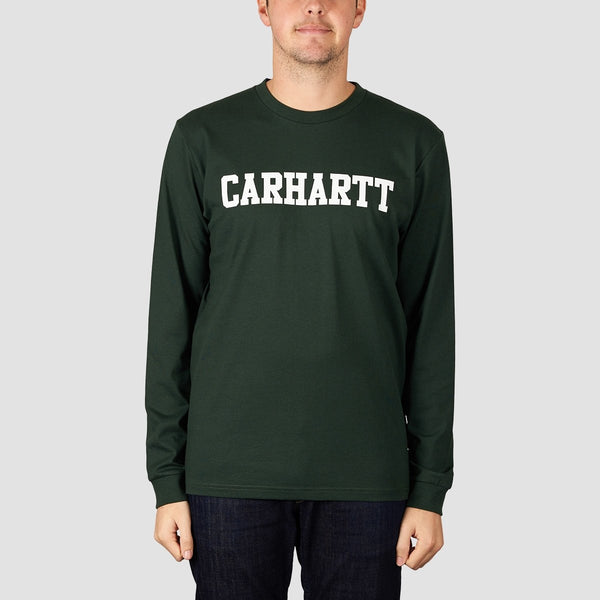 Carhartt WIP College Longsleeve Tee Loden/White - Clothing