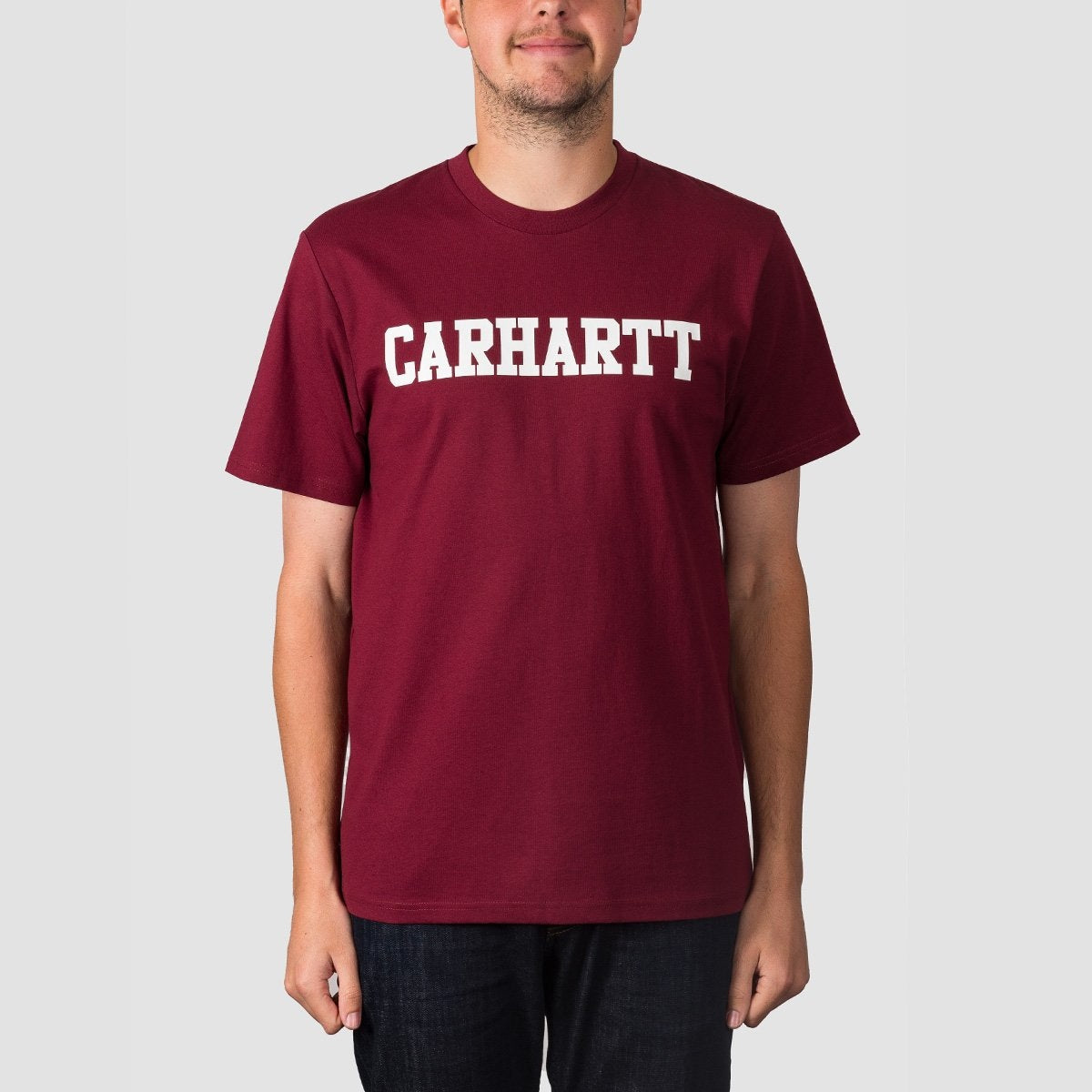 Carhartt WIP College Tee Mulberry/White - Clothing