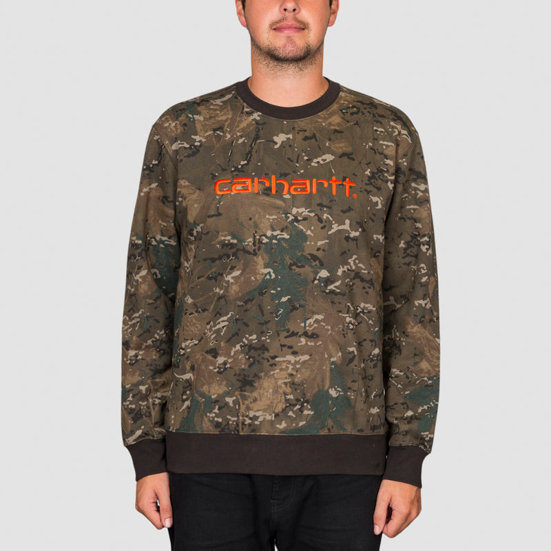 Carhartt WIP Crew Sweat Camo Combi/Safety Orange