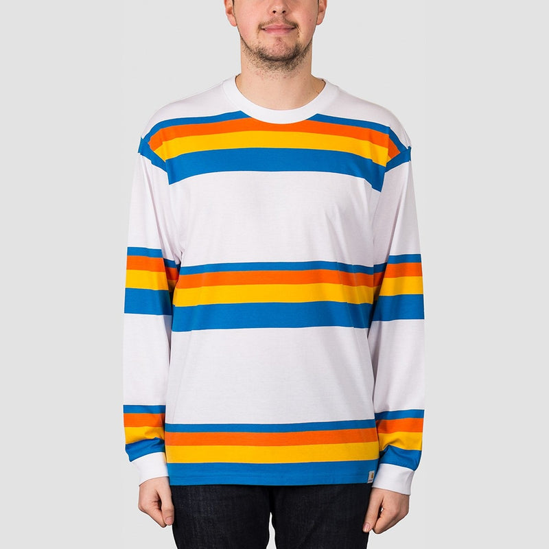 Carhartt WIP Huntington Stripe Long Sleeve Tee White/Clockwork - Clothing