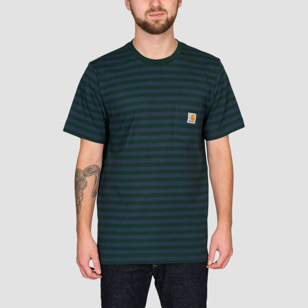Carhartt WIP Parker Stripe Pocket Tee Bottle Green/Admiral