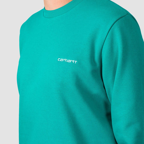 Carhartt WIP Script Embroidery Crew Sweat Cauma/White - Clothing