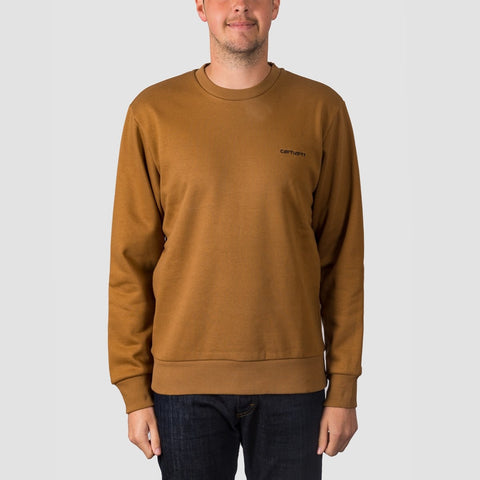 Carhartt WIP Script Embroidery Crew Sweat Hamilton Brown/Black