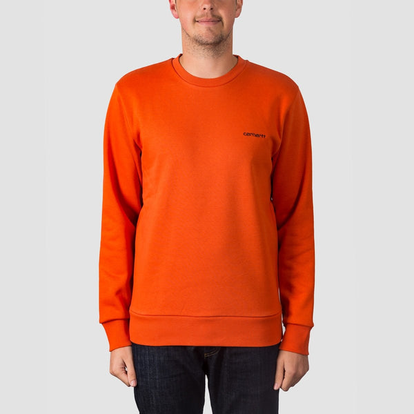 Carhartt WIP Script Embroidery Crew Sweat Persimmon/Black - Clothing