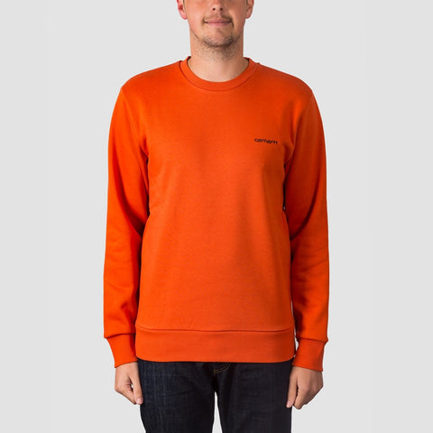 Carhartt WIP Script Embroidery Crew Sweat Persimmon/Black