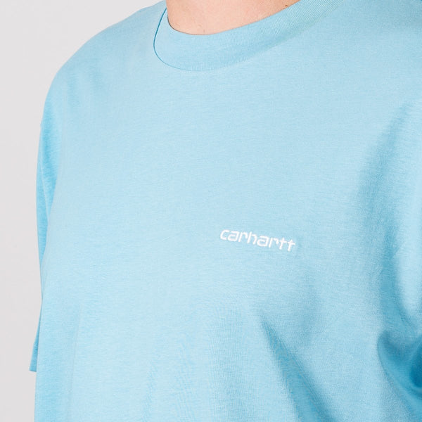 Carhartt WIP Script Embroidery Tee Capri/White - Clothing