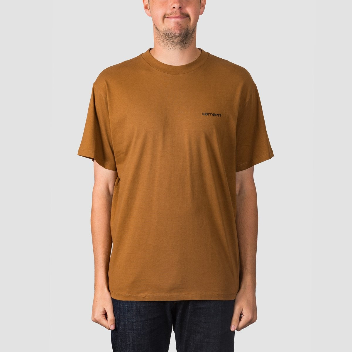 Carhartt WIP Script Embroidery Tee Hamilton Brown/Black - Clothing