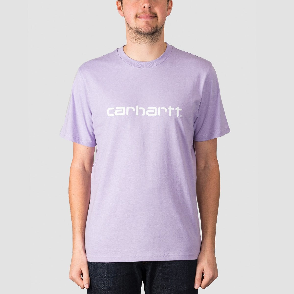 Carhartt WIP Script Tee Soft Lavender/White - Clothing