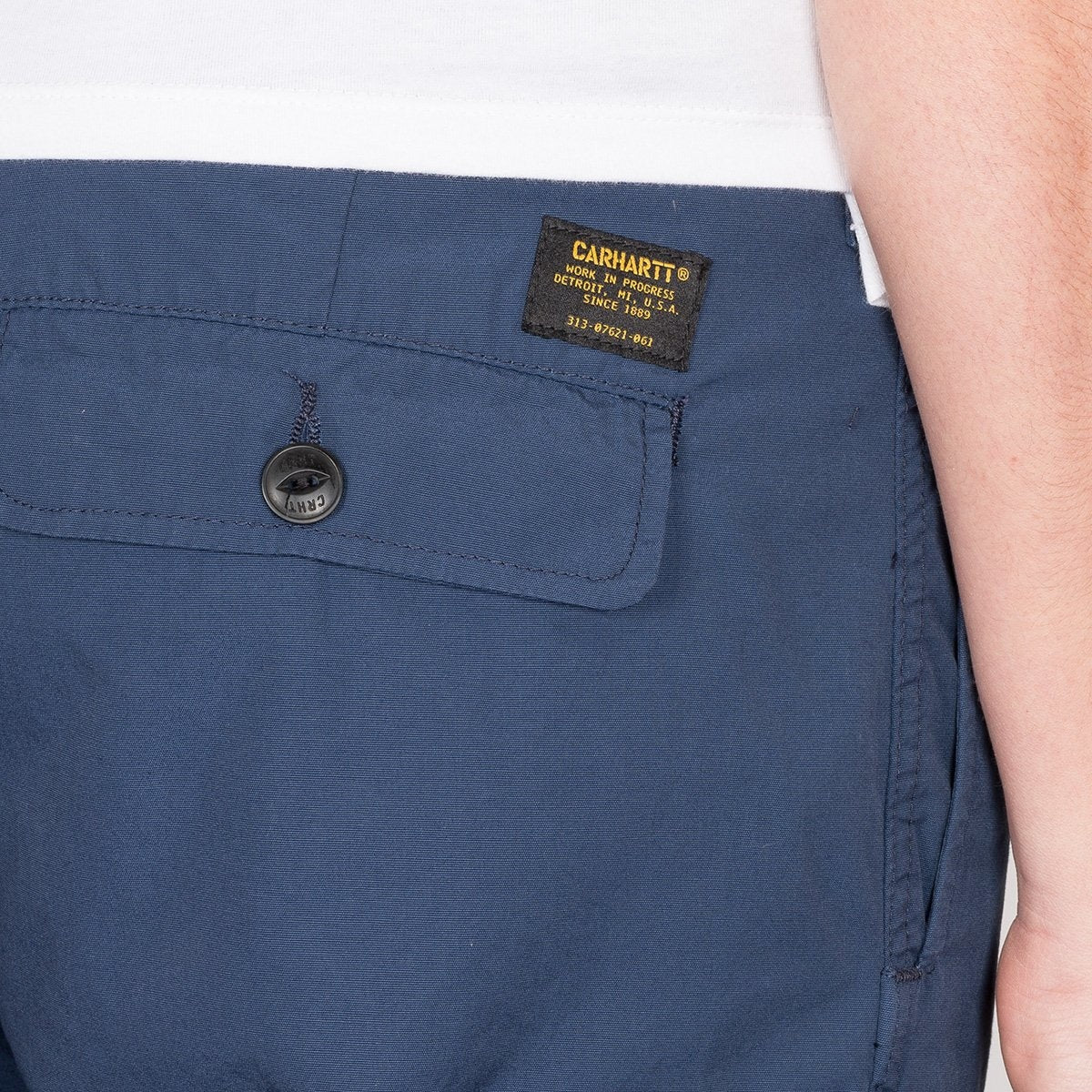 Carhartt WIP Shelter Cargo Shorts Blue Rinsed - Clothing