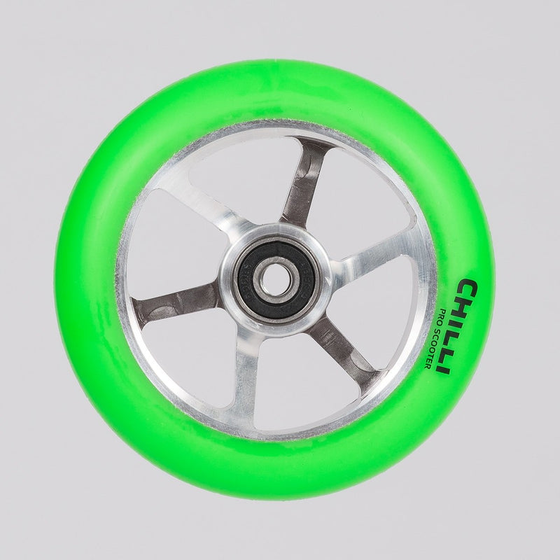 Chilli Pro 6-Spoked Scooter Wheel Green/Silver 110mm - Scooter