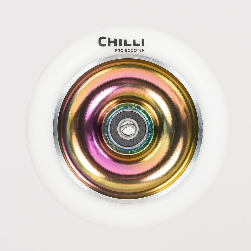 Chilli Pro Fullcore Scooter Wheel White/Neochrome110mm - Scooter