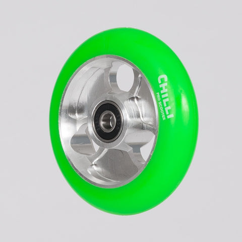 Chilli Pro Parabol Wheel 100mm Green/Silver - Scooter