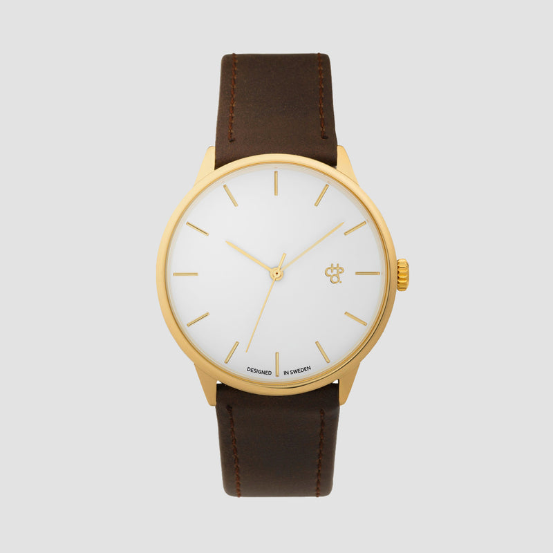 CHPO Khorshid Watch Gold Metal/Brown/Vegan Leather Strap - Unisex