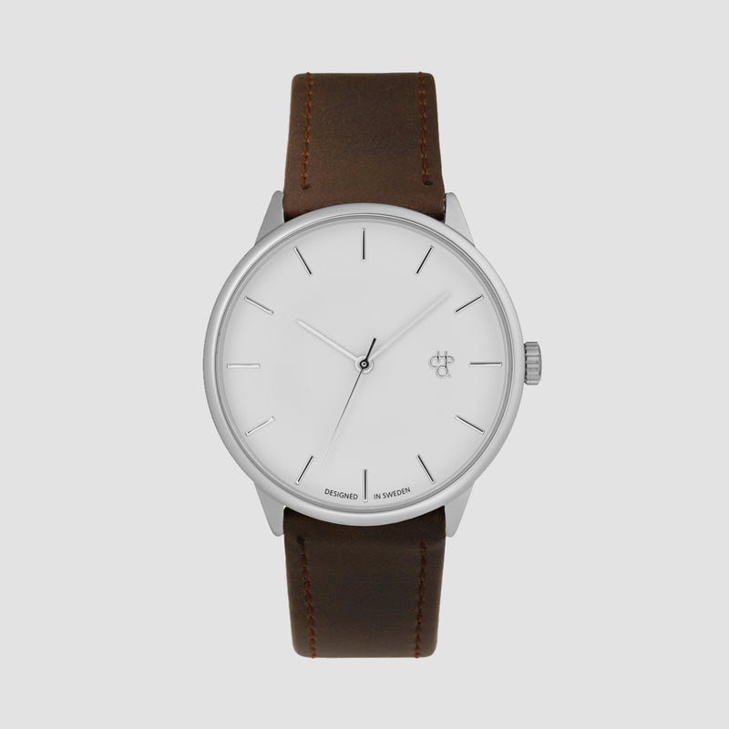 CHPO Khorshid Watch Silver/Brown/Vegan Leather Strap - Unisex