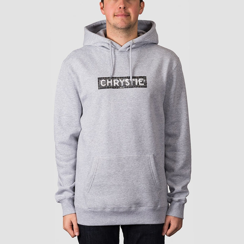 Chrystie Station Logo Pullover Hood Heather Grey - Clothing