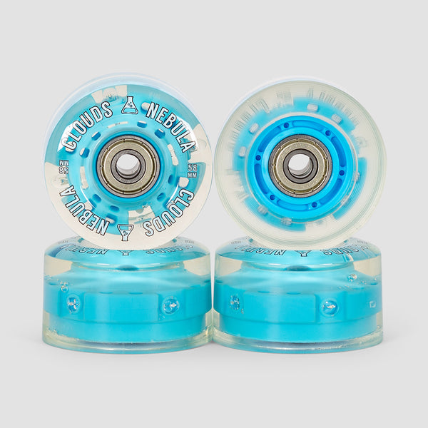 Clouds Nebula Light Up 82a Abec5 Quad Wheels x4 Clear/Blue 58mm