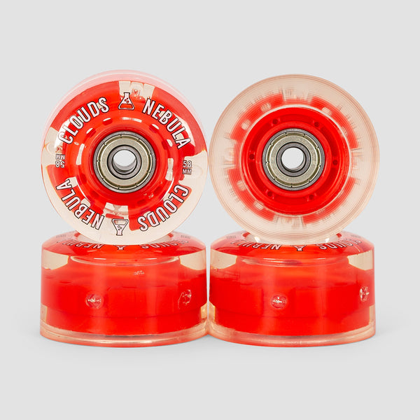 Clouds Nebula Light Up 82a Abec5 Quad Wheels x4 Clear/Red 58mm