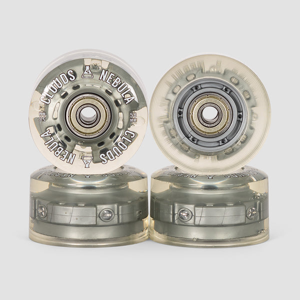 Clouds Nebula Light Up 82a Abec5 Quad Wheels x4 Clear/Silver 58mm