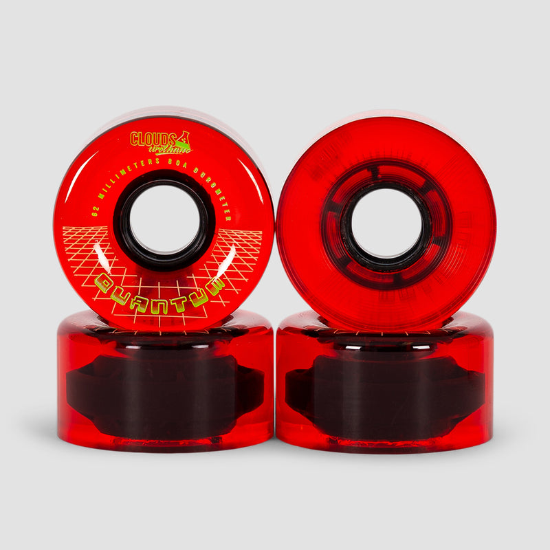 Clouds Quantum 80a Quad Wheels x4 Clear/Red 62mm