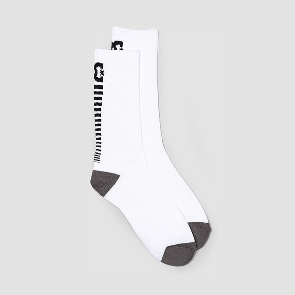 DC Back Smack Crew Socks White