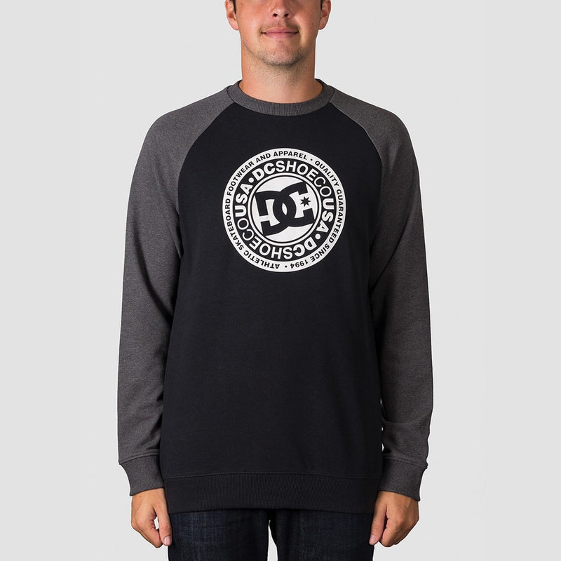 DC Circle Star Crew Sweat Charcoal Heather/Black - Clothing