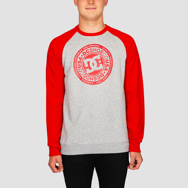 DC Circle Star Crew Sweat Grey Heather/Racing Red