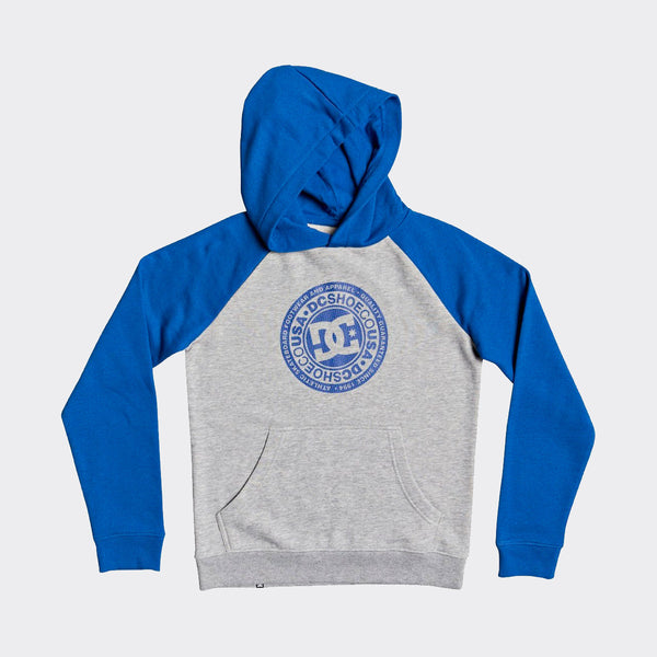 DC Circle Star Pullover Hood Grey Heather/Nautical Blue P - Kids
