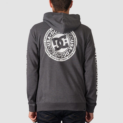 DC Circle Star Zip Hood Heather Charcoal - Clothing