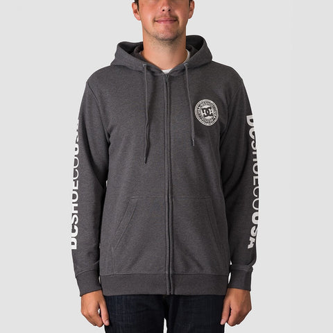DC Circle Star Zip Hood Heather Charcoal