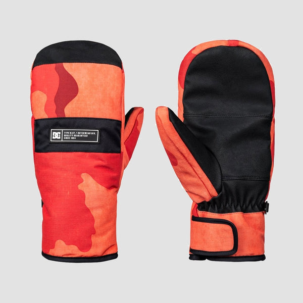 DC Franchise Snowboard Mittens Red Orange Dcu Camo - Snowboard