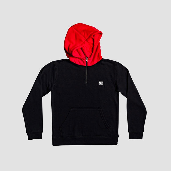 DC Rebel Halfzip Pullover Hood Black/Racing Red - Kids - Clothing