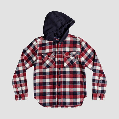 DC Runnels Kids Long Sleeve Hooded Flannel Shirt Tango Red