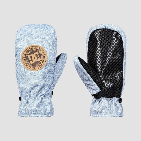 DC Shelter Snowboard Mittens Light Blue Denim B - Snowboard